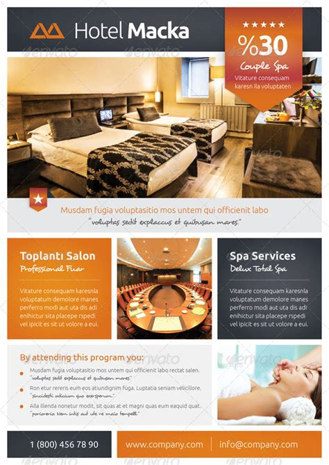 hotel flyer templates by grafilker graphicriver