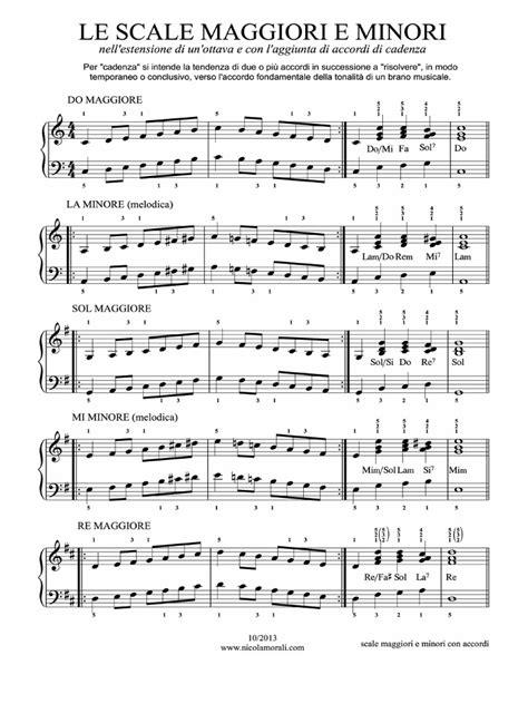 ci vuole un fiore spartito scale maggiori e minori per pianoforte con accordi di