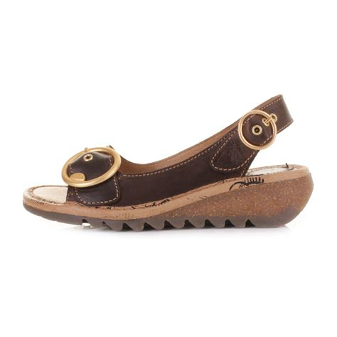womens fly tram brown leather slingback low