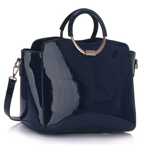 Bag Ring ls00387 ls00387 navy patent metal ring handle held bag