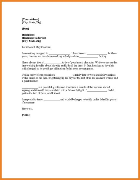 character reference letter court word format resume