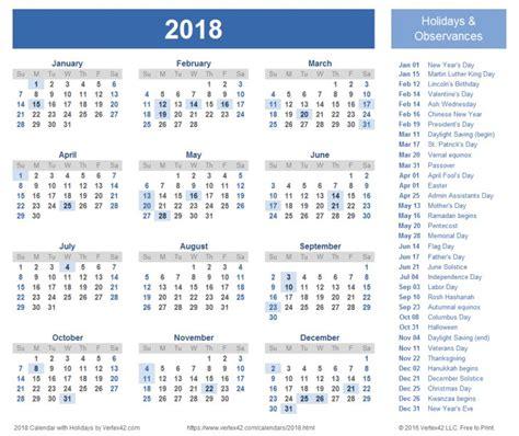 Calendar Holidays 2018 Usa 2018 Calendar With Holidays Canada Free Calendar 2017