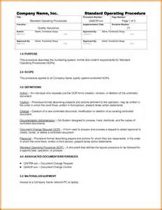 Writing Sops Template by 5 Standard Operating Procedures Template