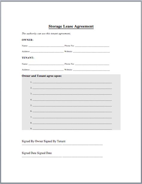 Storage Lease Agreement Template Microsoft Office Templates Warehouse Contract Template