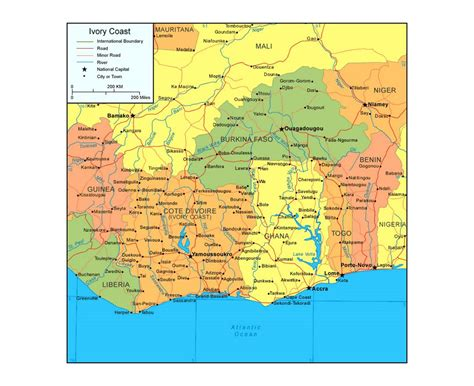 ivory coast map maps of cote d ivoire detailed map of cote d ivoire in