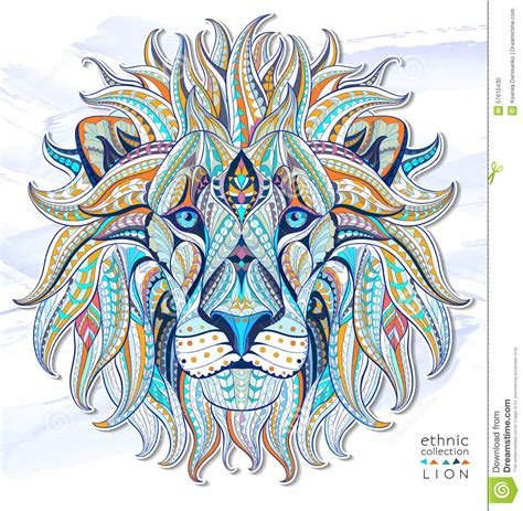 patterned head of the lion stock vector image 57610430