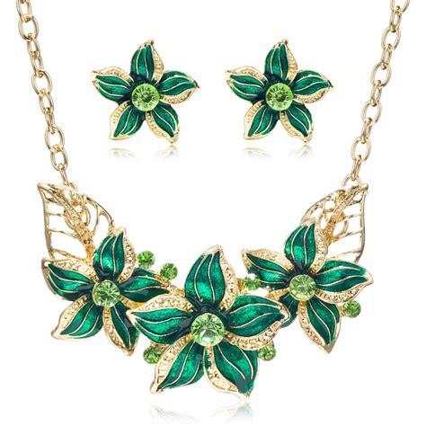 Jewelry Set Gold Plate Austrian Enamel Flower enamel flower jewelry set free shipping worldwide