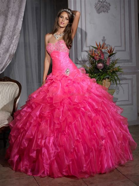 Pink quinceanera dresses dressed up girl