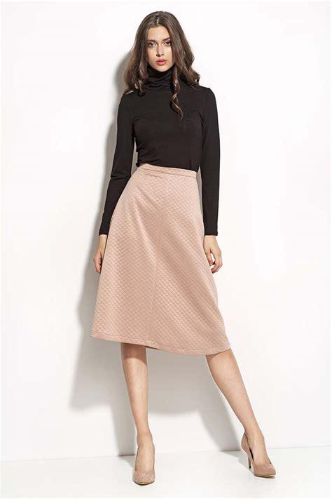 pale pink textured midi length seam skirt
