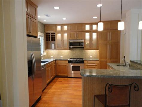 oak cabinet with modern handles s kitchen