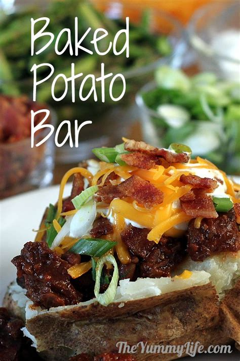 toppings for potato bar baked potato bar on pinterest