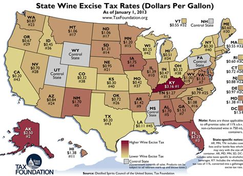 map of usa states to buy wine and liquor taxes in the fifty states
