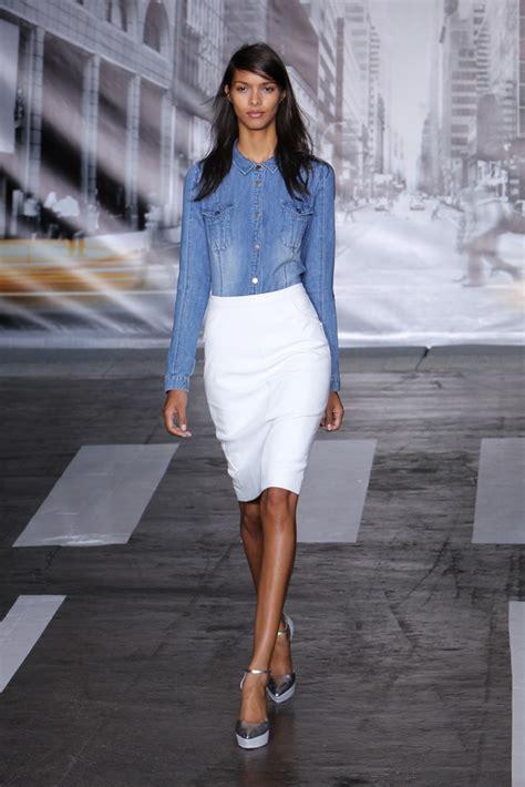 denim shirt and white skirt always in trend always in
