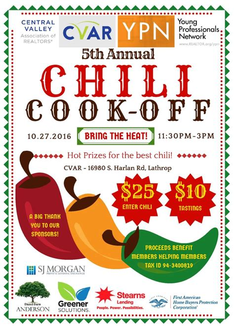 chili cook flyer template ypn 5th annual chili cook central valley