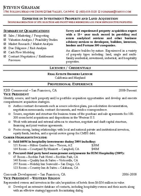 Resume Sle Of Real Estate Real Estate Resume Exle Realtor Sle Resumes