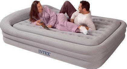 intex queen size comfort frame air bed  grey  hand