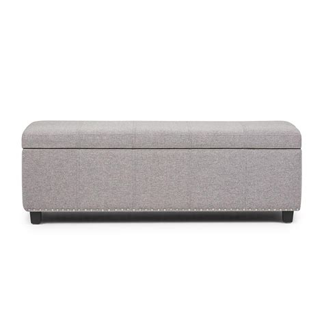 Large Storage Ottoman Bench Simpli Home Kingsley Cloud Grey Large Storage Ottoman Bench 3axcot 240 Clg The Home Depot
