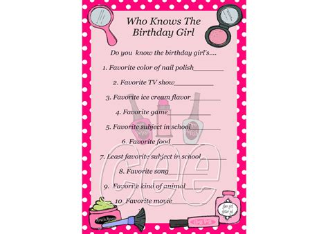 printable games for birthday party spa party birthday game spa party game for girl spa theme