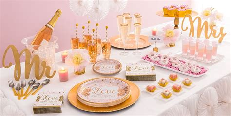 theme bridal shower tableware sparkling pink wedding supplies city
