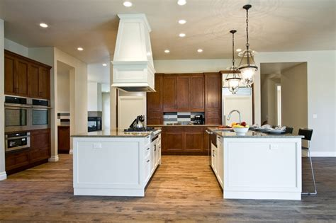 spacious kitchen designs with two islands