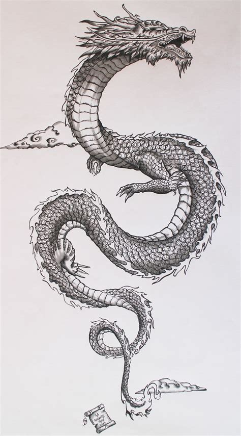 wonderful black ink dragon tattoo design for men