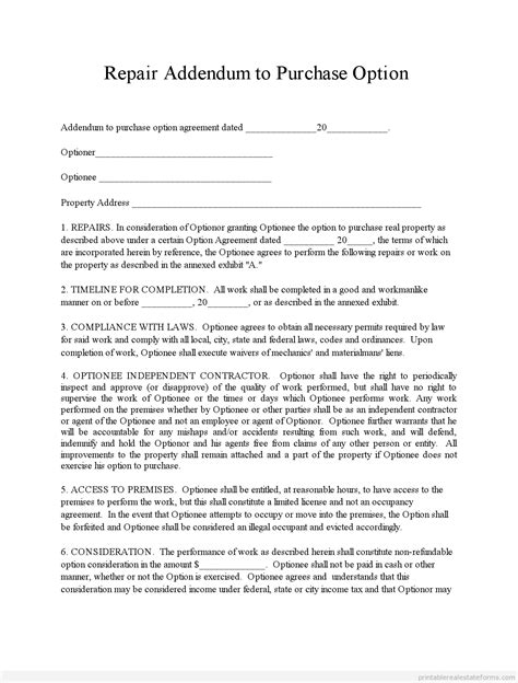 Offer Letter Addendum Free Printable Repair Addendum Work For Equity Form Pdf