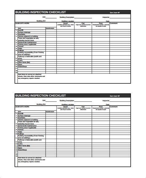 15 Sle Home Inspection Checklist Templates Sle Templates Home Inspection Form Template Free