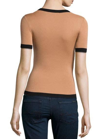 Contrast Trim Sleeve Knit Top michael kors sleeve scoop neck top with contrast