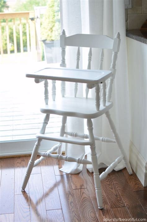 white wooden baby high chair painted vintage highchair vintage babies and high chairs