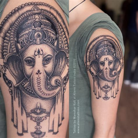 dotwork lord ganesha tattoo by manohar koli aliens tattoo
