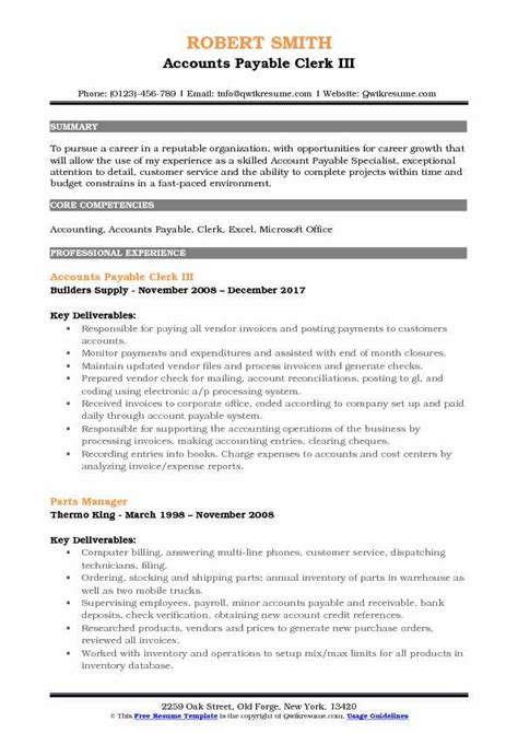 Accounts Payable Resume Pdf by Accounts Payable Clerk Resume Sles Qwikresume