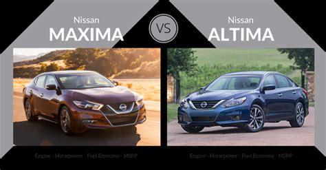 nissan altima or maxima 2016 nissan altima vs nissan maxima carsforsale