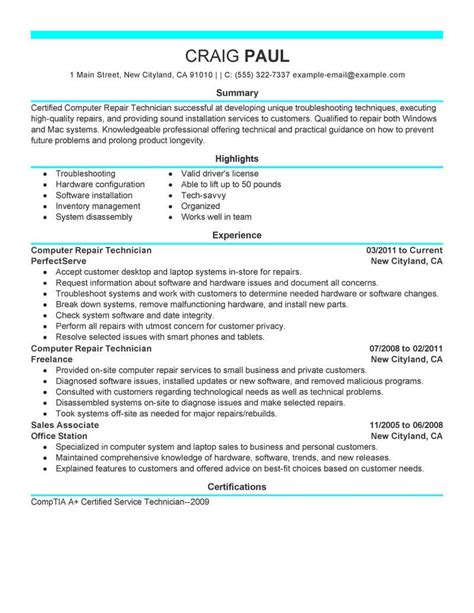 Computer Technician Resume by Best Computer Repair Technician Resume Exle Livecareer