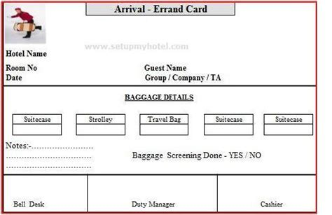 sle luggage tag template exle errand card used in hotels arrival and departure errand