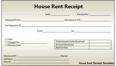receipt rent template house rent receipt template excel microsoft excel