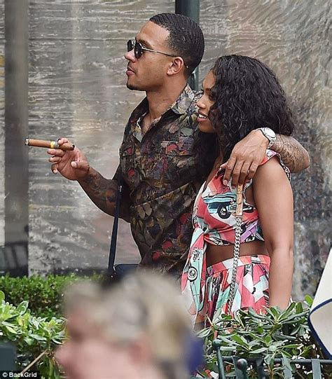 lori harvey famous memphis depay puffs cigar on holiday with fiancee daily