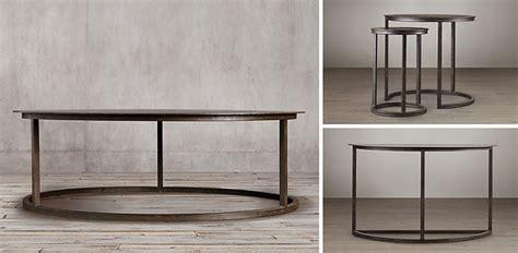 restoration hardware round coffee table mercer round collection blackened rust rh