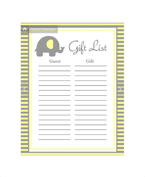 baby shower gift list template baby shower planning 5 free pdf documents