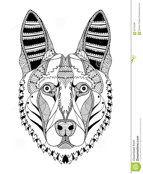german shepherd dog head zentangle stylized vector