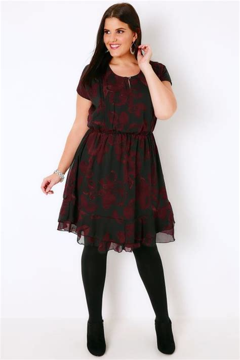 Three Of The Best Tea Dresses by Black Wine Leaf Print Tea Dress With Ruffled Hem Plus