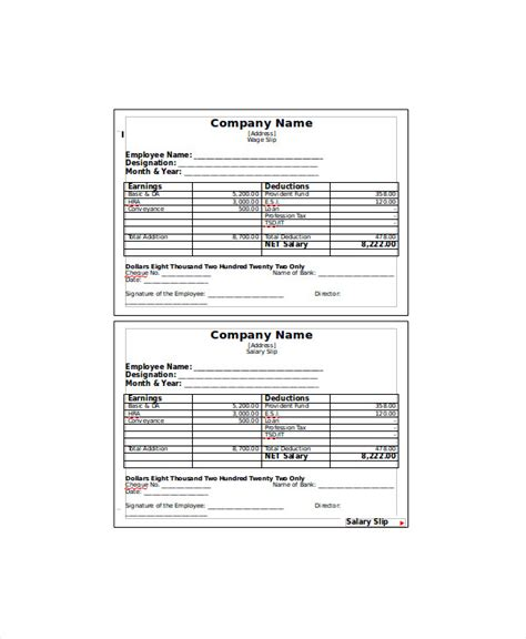 slip template sle wage slip template 8 free documents in