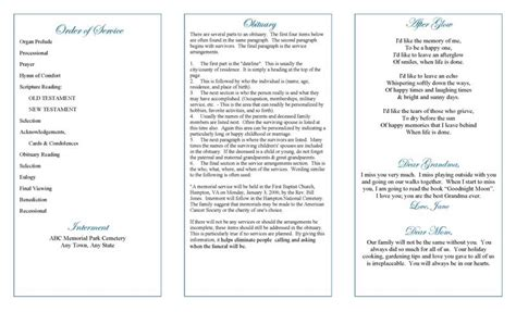 funeral program templates trifold memorial roses