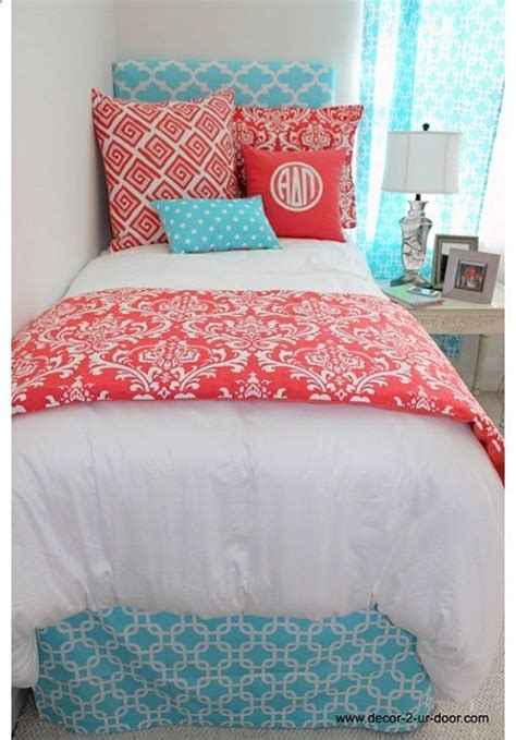 teen girl bed in a bag classic coral damask designer teen dorm bed in a bag