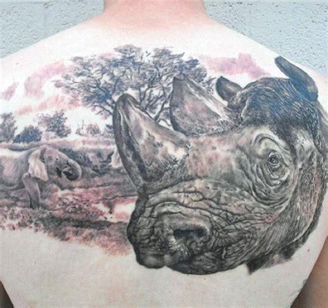 detailed elephant tattoo huge detailed colored rhino head tattoo on upper back