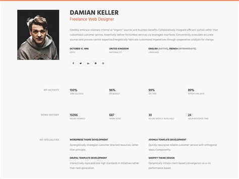 Free One Page Resume Website Template by Myprofile Free Professional Personal Bootstrap Cv
