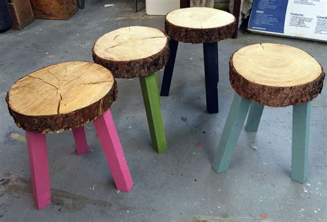 wood stump stool diy white stump stools from building the grid alaska