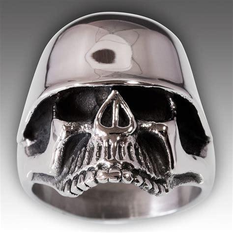Skull Ring Helmet stainless steel skull ring german combat helmet silver biker ww2 ebay
