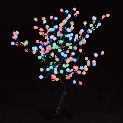 2 2ft 67cm s shaped globe tree with 192 multi colour leds