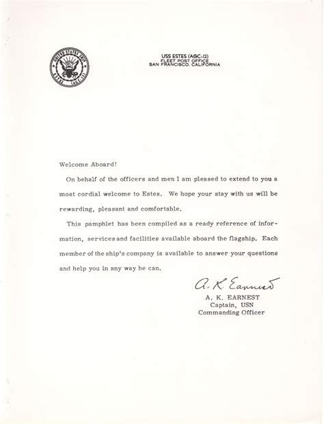 welcome aboard letter uss estes association
