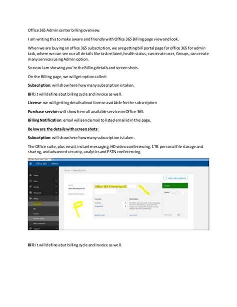 Office 365 Billing Office 365 Admin Center Billing Overview